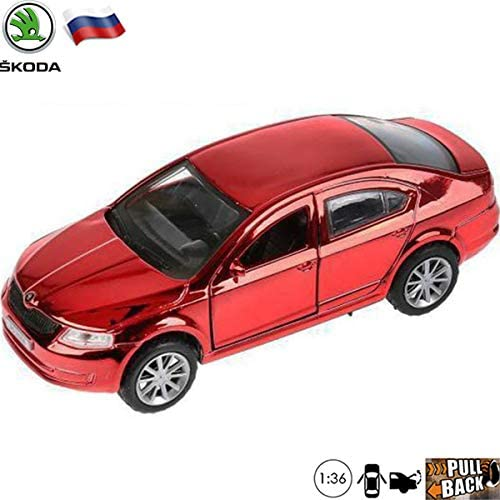 1:36 Scale Diecast Metal Model Red Chrome Car Skoda Octavia Russian Die-cast Toy Cars