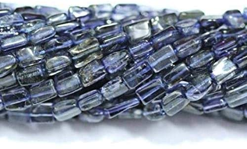 GemAbyss Beads Gemstone 20 Strand Iolite Water Sapphire Smooth Rectangle Chiclet Gemstone Loose Craft Beads 13 Inch Long 4mm 5mm Code-MVG-1351