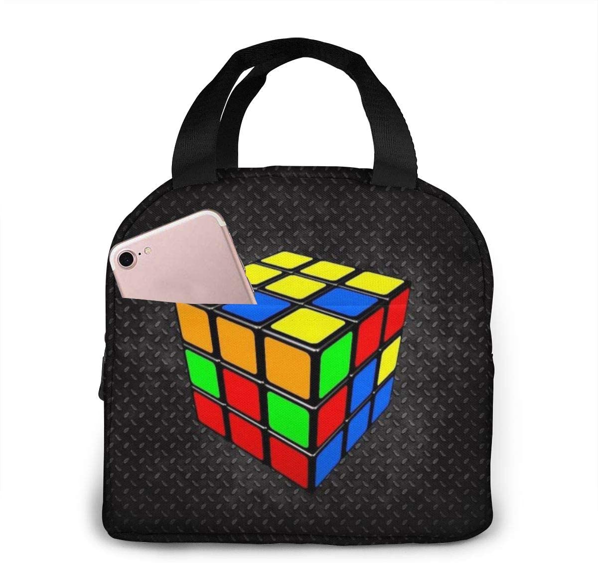 NiYoung Kids Boys Girls Toddlers Colorful Cube Rubik Black Lunchbox for Work School Picnic Beach, Compact Insulated Thermal Handbag Lunch Organizer, Heat-Resistant Lunch Tote Bag