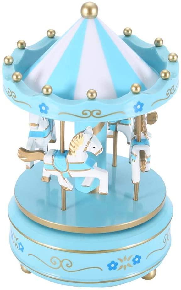 Weiyirot Merry Go Round Music Box, Carousel Music Box Christmas Birthday Gift, Music Box for Wedding Valentine's Gift & Cafe Shop Book Store Decor(Blue)