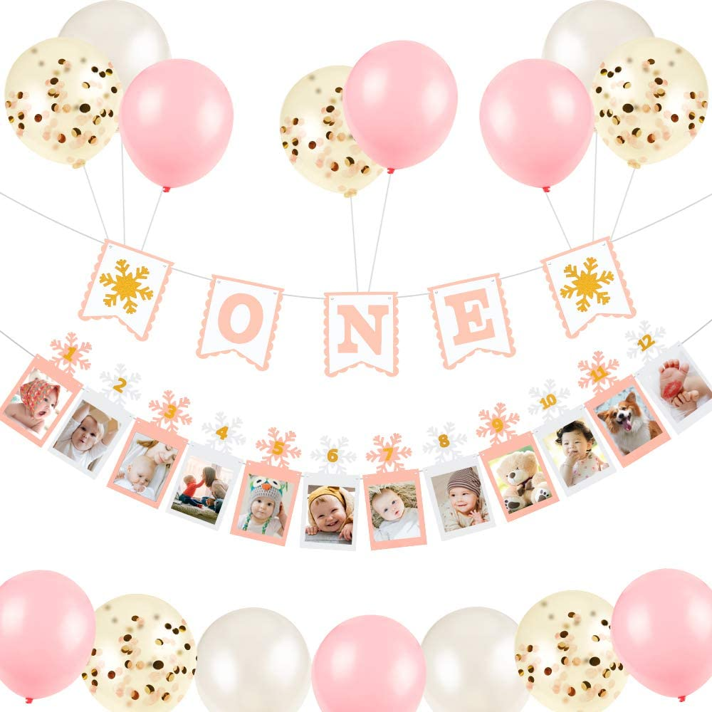 12 Month Photo Banner for First Birthday,One banner, First Birthday Banner, One Year Old Banner with Snowflake Sign for Frozen Theme Baby Shower Decorations for Girl , Include Confetti Balloons,Latex Balloons