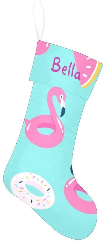 Qearl Summer Pool Flamingo Christmas Stocking for Family Xmas Holiday Party Home Decoration Gift