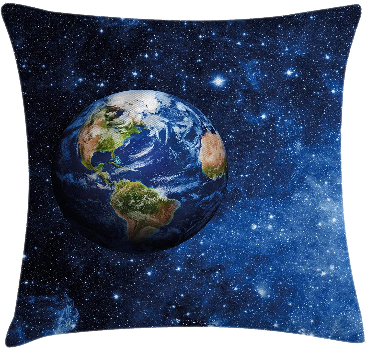 Ambesonne Space Throw Pillow Cushion Cover, Outer View of Planet Earth in Solar System with Stars Life on Globe Themed Image, Decorative Square Accent Pillow Case, 16 X 16, Blue Green