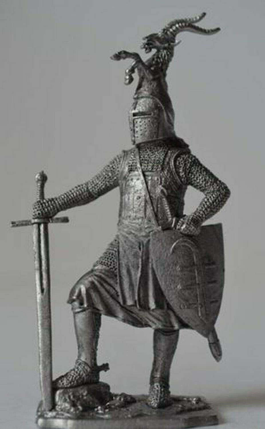 German Knight Sword 2nd Half of The 13th Сentury 1/32 Scale Unpainted Tin Figure Middle Ages Handmade Collectible Miniature
