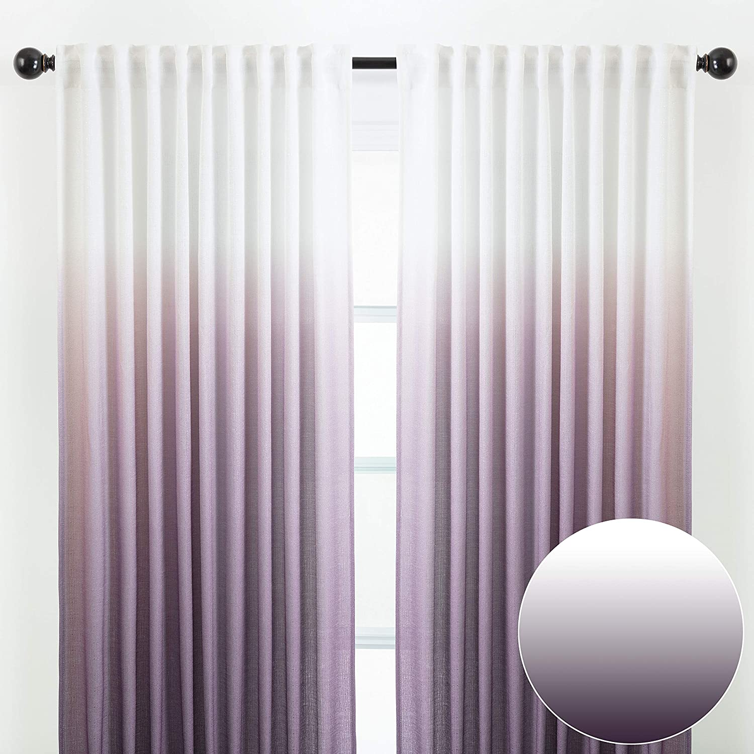 Chanasya 2-Panel Gradient Ombre Faux Belgian Flax Semi Sheer Curtains - for Windows Living Room Bedroom Patio - Partial See Through Elegant Drapes for Privacy & Home Decor 52 x 84 Inches Long - Purple