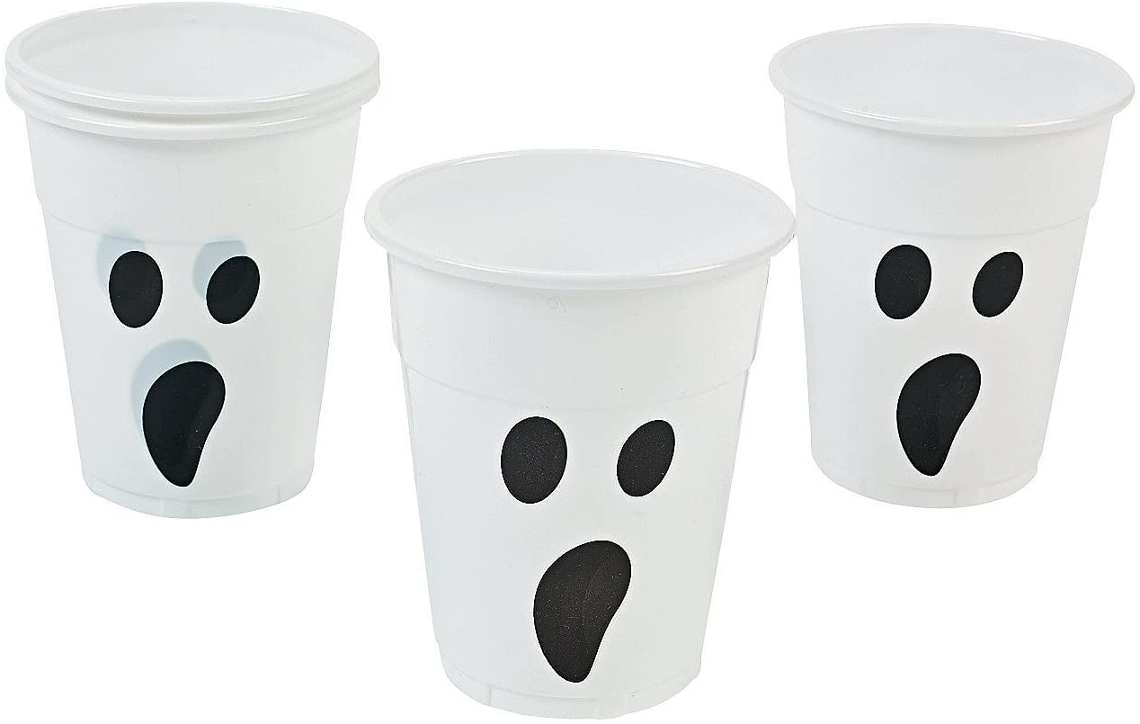 Plastic Ghost Cups holds 16 oz (set of 50) Bulk Halloween Party Supplies