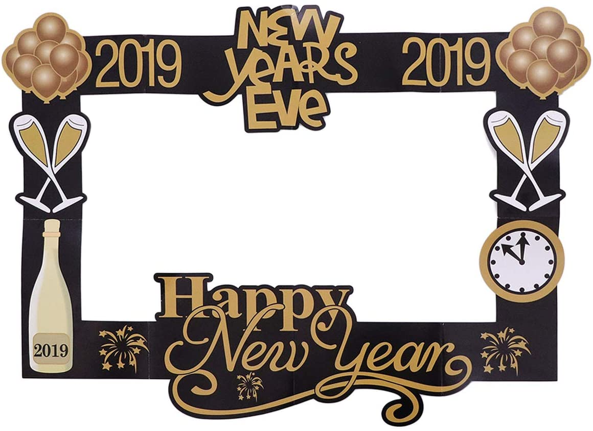 Amosfun New Year Photo Booth Props Photo Frame 2019 Happiness New Years Eve Party Supplies