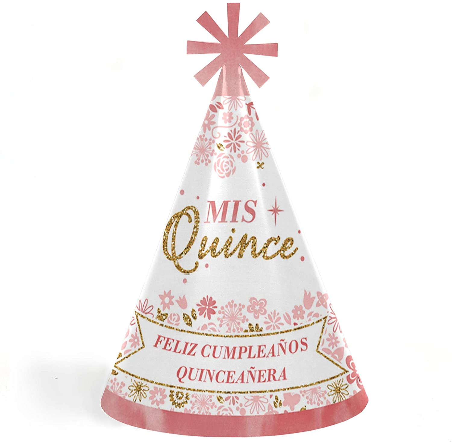 Mis Quince Anos - Cone Happy Birthday Party Hats for Kids and Adults - Set of 8 (Standard Size)