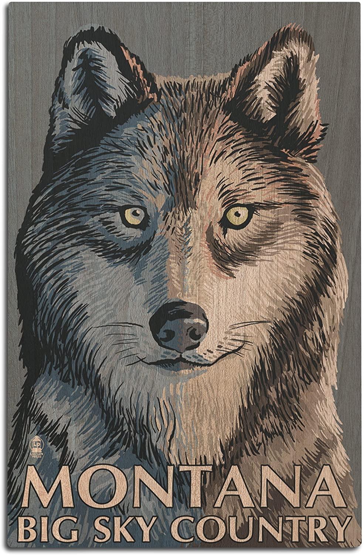 Lantern Press Wolf Up Close - Montana Big Sky (12x18 Wood Wall Sign, Wall Decor Ready to Hang)