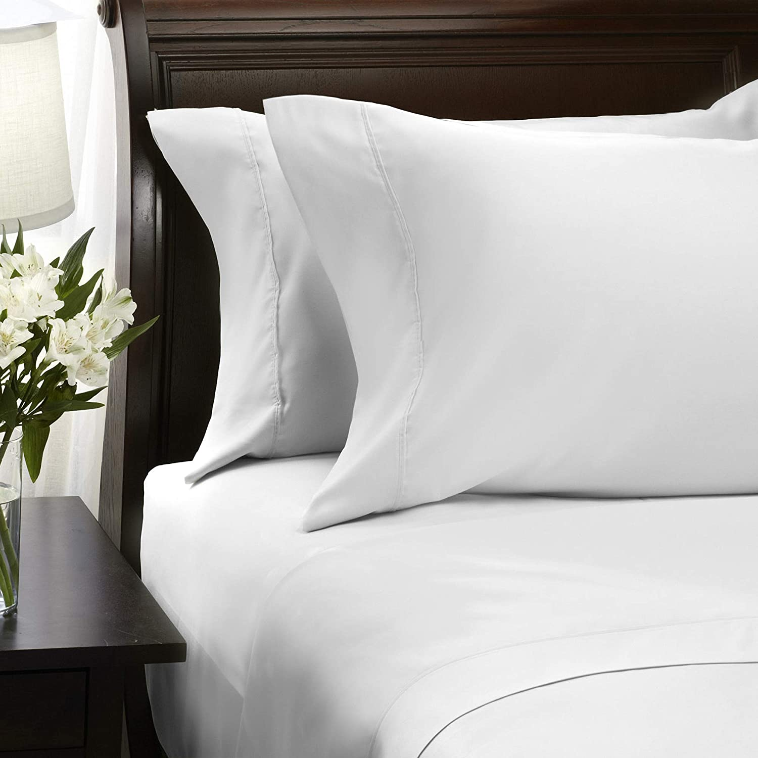 Hallmark King Size Bed Sheets Set - Soft Brushed Microfiber Sheets White Bed Sheets King Set Deep Pocket 16 Inches, Wrinkle Free and Hypoallergenic - 4 Piece Set, King, Bright White