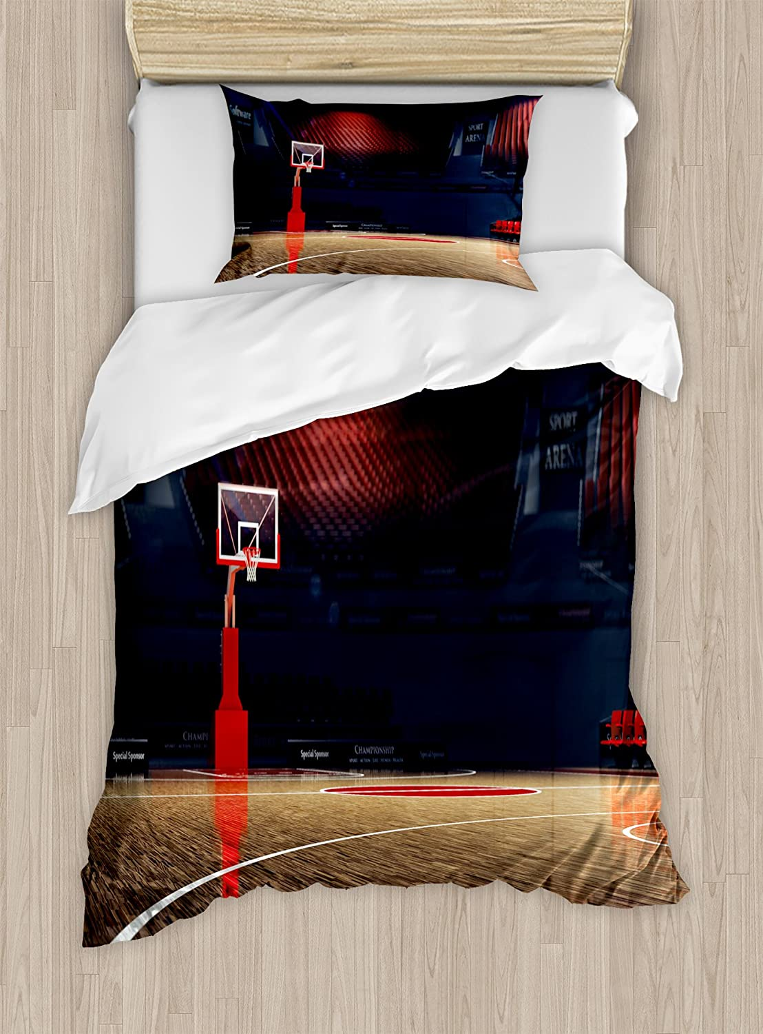 Ambesonne Basketball Duvet Cover Set, Picture of Empty Basketball Court Sport Arena with Wood Floor Print, Decorative 2 Piece Bedding Set with 1 Pillow Sham, Twin Size, Black Brown