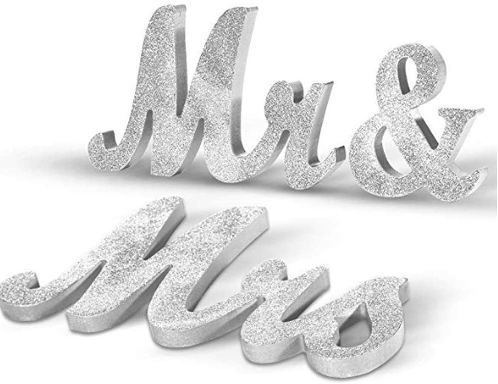FABSELLER Mr and Mrs Letters Sign Wooden Letters for Wedding Decoration Top Table Present Decor Wedding Gift, Silver