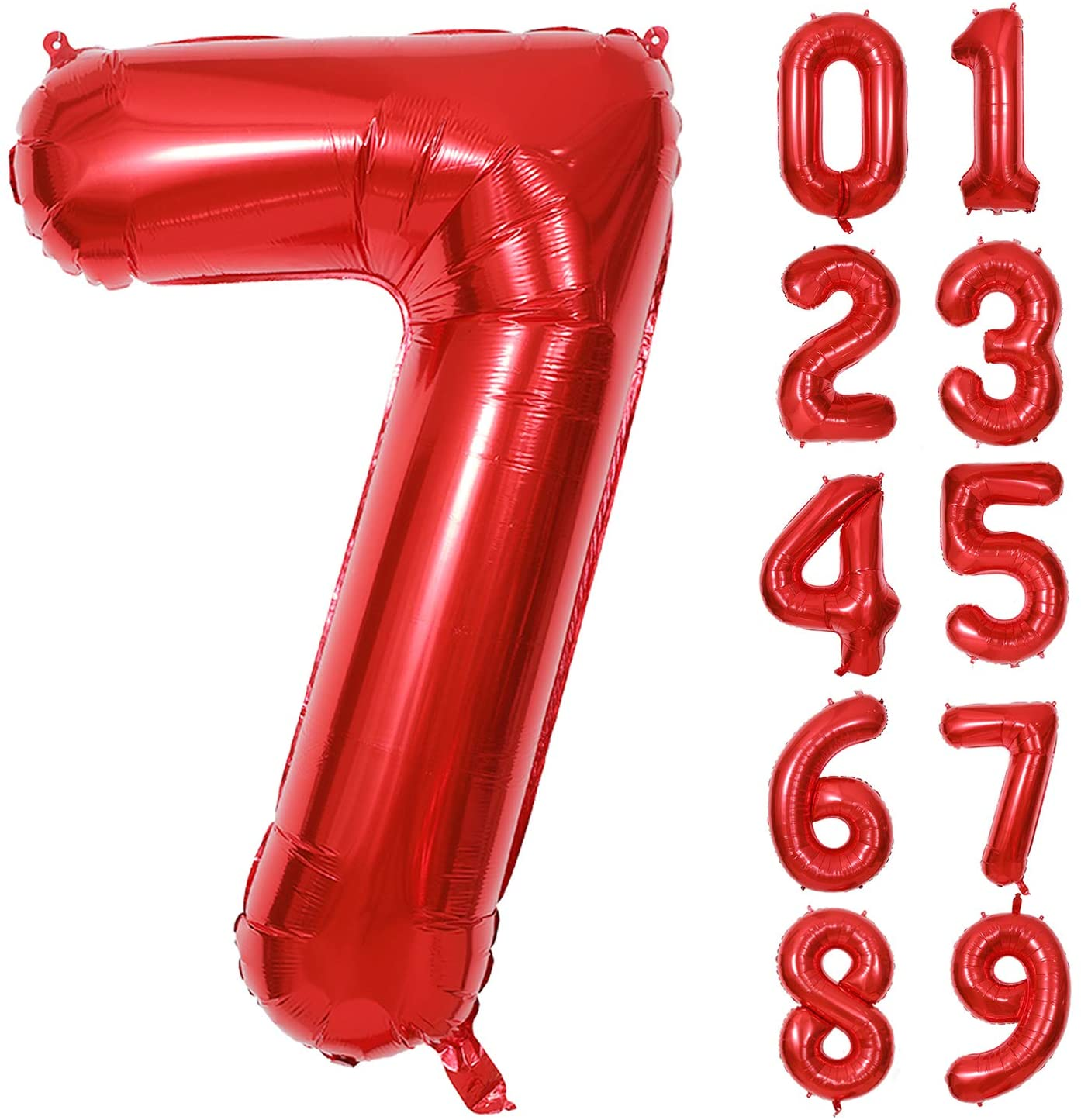40 Inch Red Number Foil Balloons 0-9 Balloons, Foil Mylar Big Number 7 Digital Balloons for Red Birthday Party Decorations (Number 7)