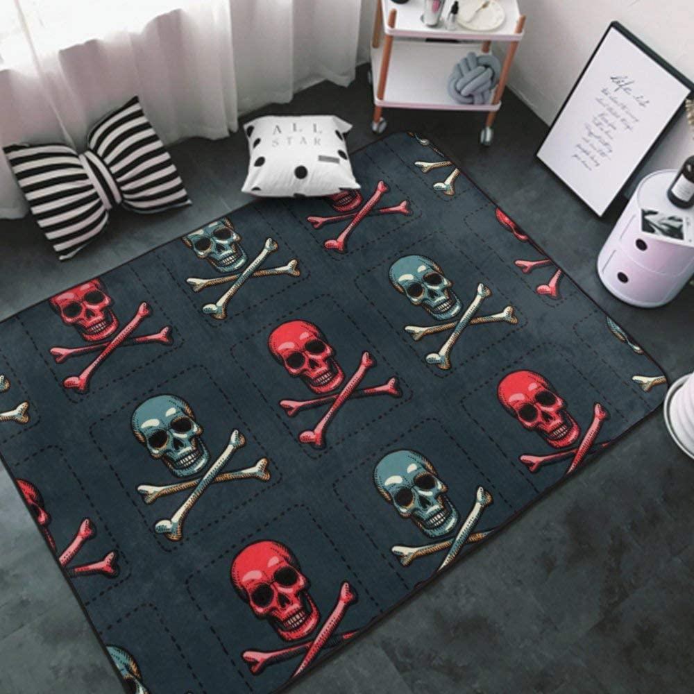 Area Rug Non-Slip Mats Carpets Children Rug skull8 Nursery Rug Multipurpose Carpets for Sofa, Living Room Area Rugs