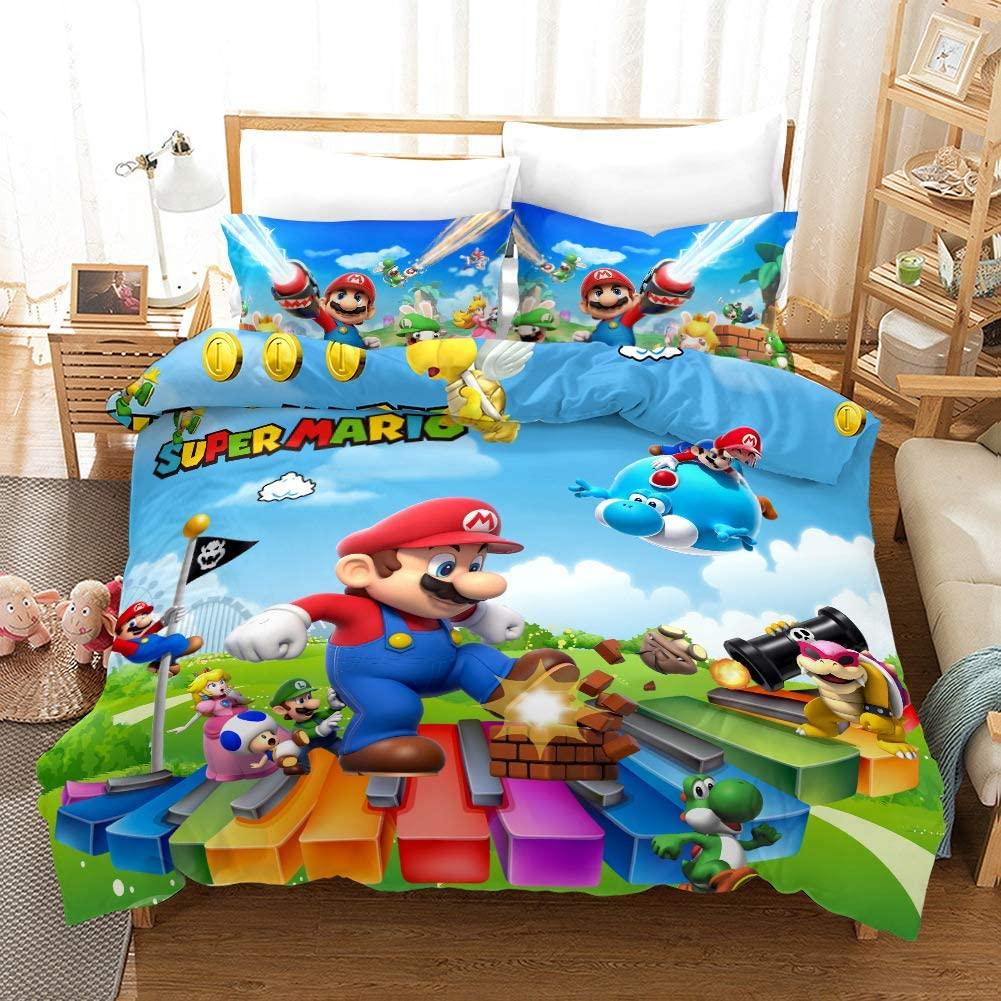 Lianai Super Mario Kids Bedding Set Full Size 3 Piece Game Cartoon 3D Duvet Cover Sets for Boys, 1 Duvet Cover + 2 Pillowcases