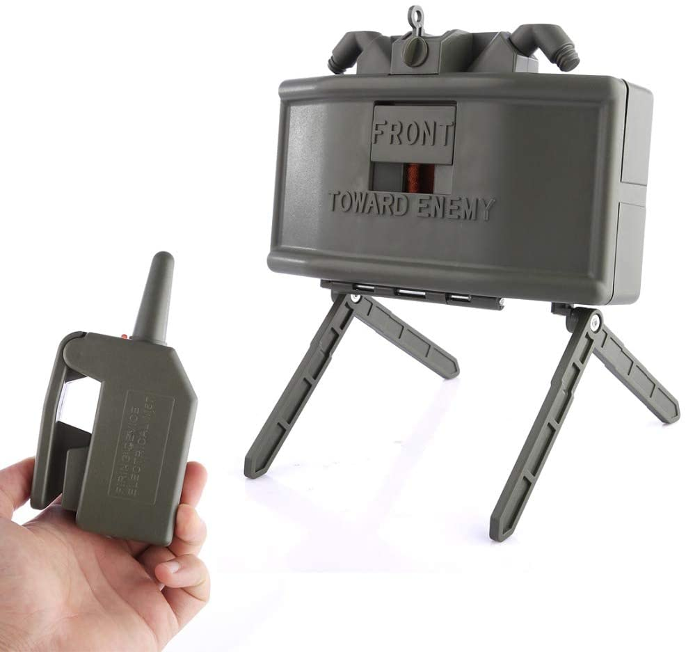 Skywin Toy Claymore Mine for Nerf War and Airsoft - Trip Wire and Remote Detonating Plastic Claymore Filled with Your Ammo