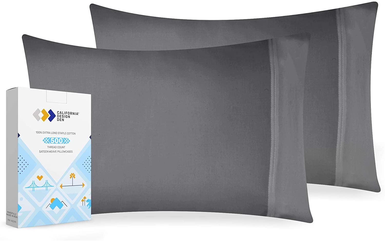 California Design Den Dark Grey Luxury Cotton Pillowcases - 2 Piece Smooth Solid Sateen Weave Standard Pillow Cover Set, 500 Thread Count Comfortable Pillowcases