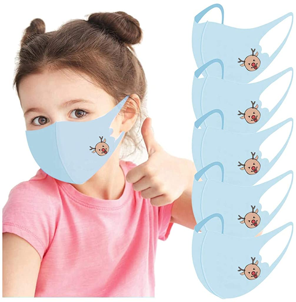 Kids Face Covering Resuable,Veki 5 PCS Children Face Bandanas Cloth Breathable Face_masks Back to School/Work Supplies