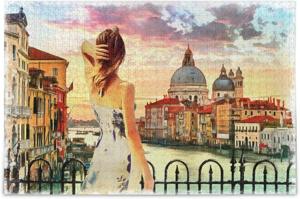 500 Pieces Standing Girl Venice Grand Canal Italy Jigsaw Puzzle, Educational Intellectual Decompressing Fun Game for Kids Adults