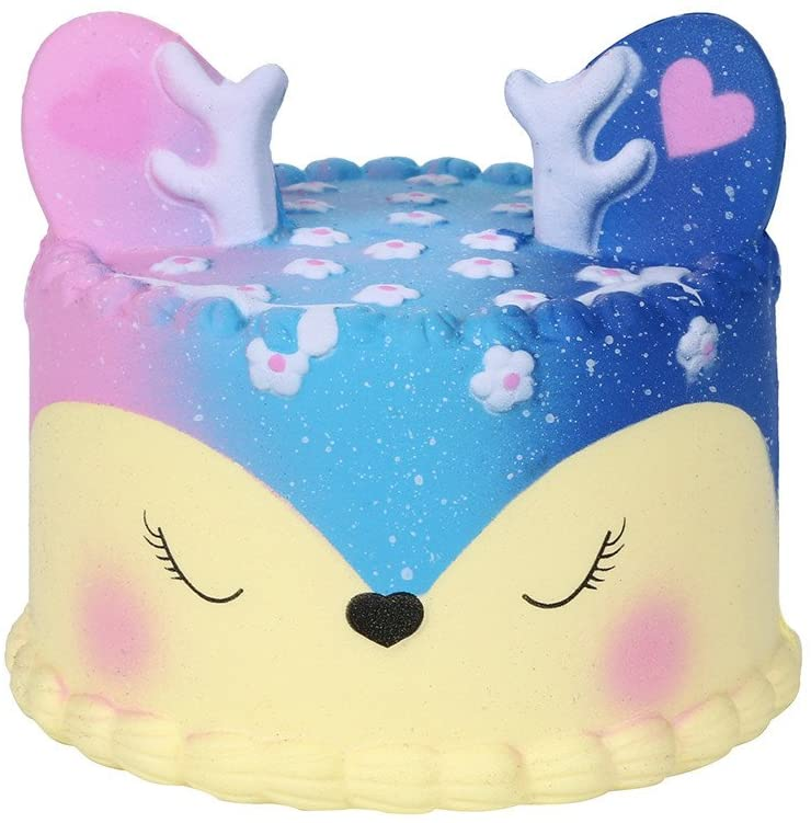 Printasaurus Galaxy Jumbo Deer Cake Slow Rising Scented Squeeze Stress Relief Toy Collection Toys and Hobbies Squishy Toys