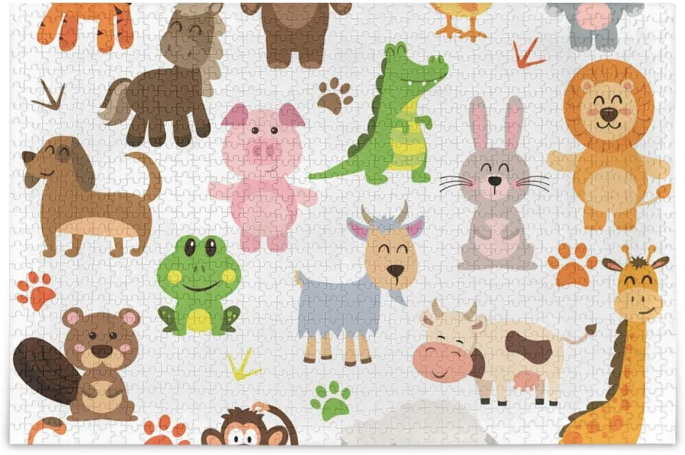 Puzzles for Adults 500 Pieces Cartoon Animals Theme - Finished Size 20.5 inch x 15 inch Boredom Busters for Adults, Unique Puzzles for Family Fun Game