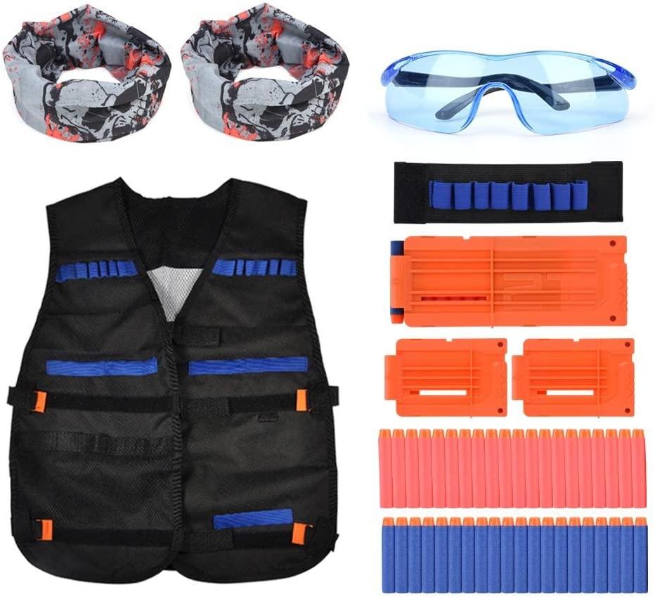 Walfront Kids Foam Dart Bullet Clips Vest + 40 Refill Soft Darts Bullets + 3 Reload Clips +1 Wrist Band + 2 Hoods +1 Pair of Protective Glasses