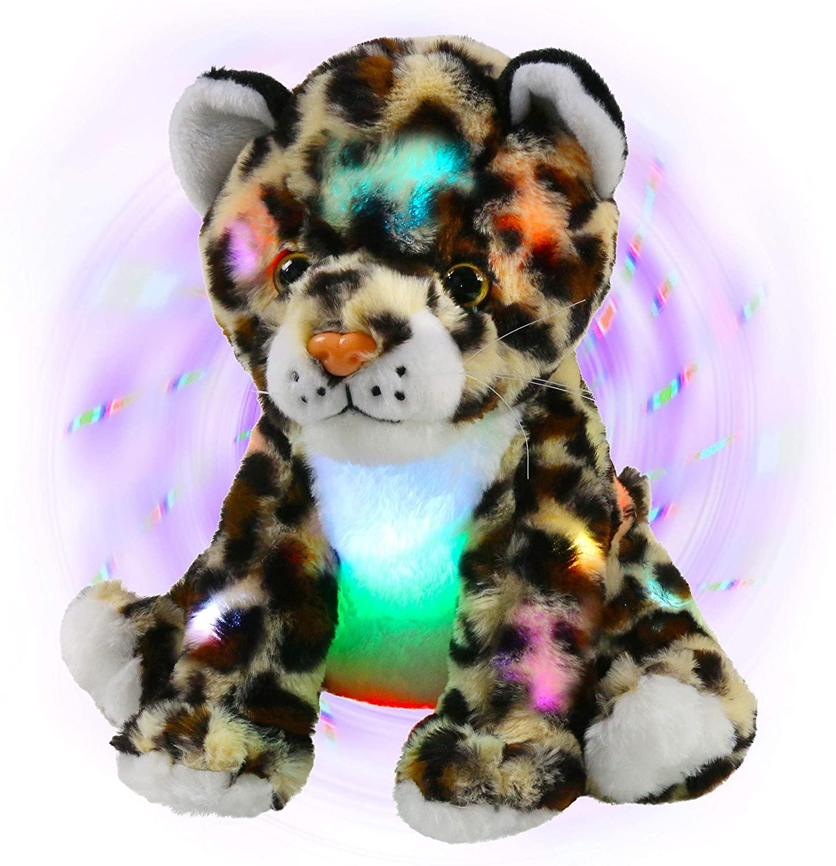 Bstaofy Light up Cheetah Plush LED Leopard Stuffed Animals Night Light Companion Bedtime Jungle Toys Glow Afraid of Dark, 10''