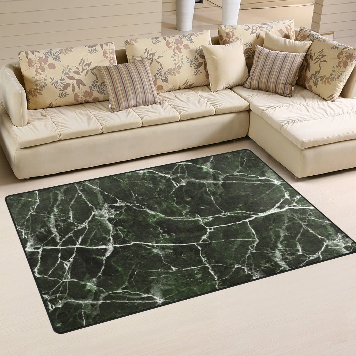 WellLee Area Rug 2.7'x1.8',Green Marble Stone Floor Rug Non-Slip Doormat for Living Dining Dorm Room Bedroom Decor
