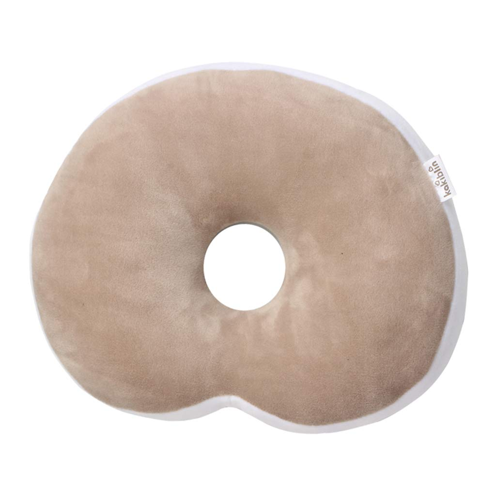 KAKIBLIN Anti Flat Head Baby Pillow, Head Shaping Pillow for Infants Soft Head Support Pillow for 0-1 Year Old, Khaki