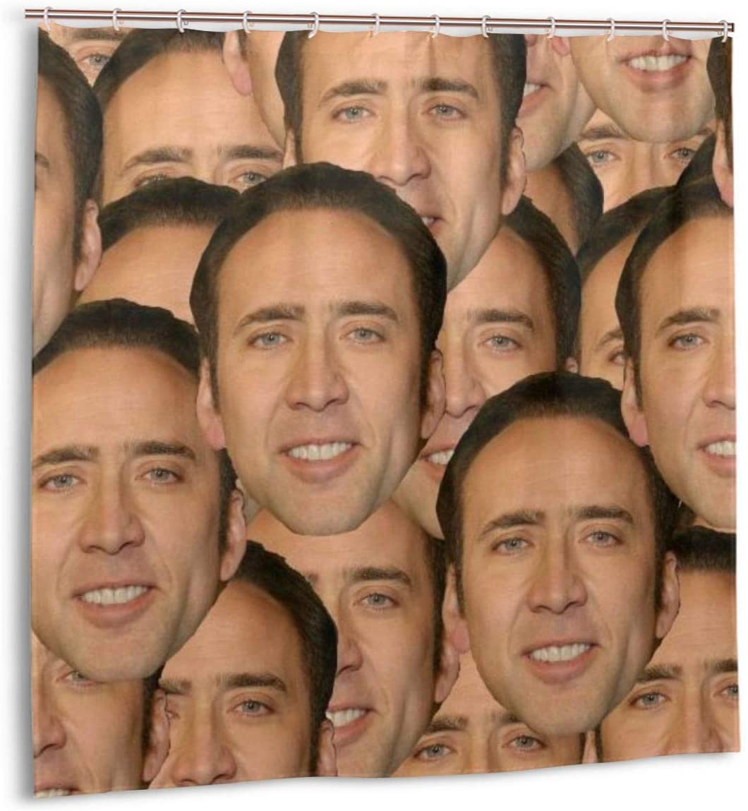 Junip Nicolas Cage Face Collage Shower Curtain Set for Bathroom Decor Waterproof Polyester Fabric Shower Curtain 72x72 in