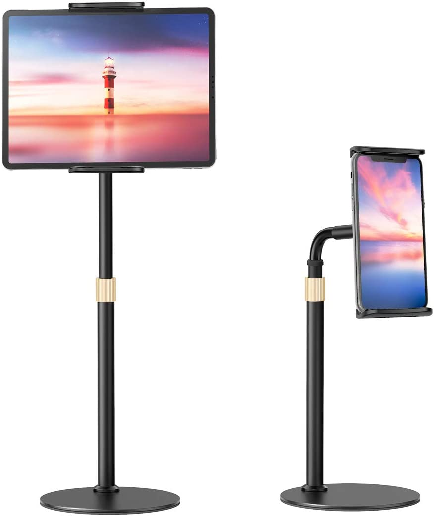 VIVI MAO Tablet Stand Holder, Universal Height Adjustable 360 Degree Rotation Aluminum Alloy Cradle Tablet Holder, Gooseneck Flexible Arm Stand Clamp Mount for 4.7