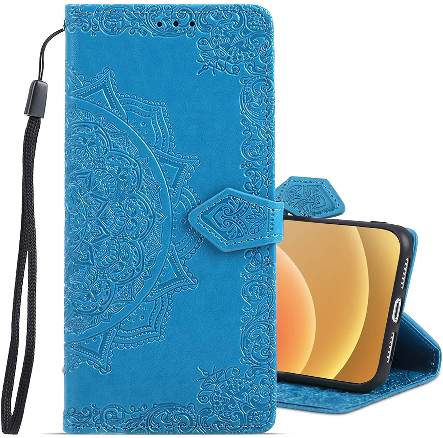 Bsnowmela Wallet Case for iPhone 12 Pro Max 5G Card Holder Case PU Leather Flip Folio Cover Kickstand Lanyard Embossed Flower Shockproof Slim Case Cover for iPhone 12 Pro Max 6.7 inch Blue