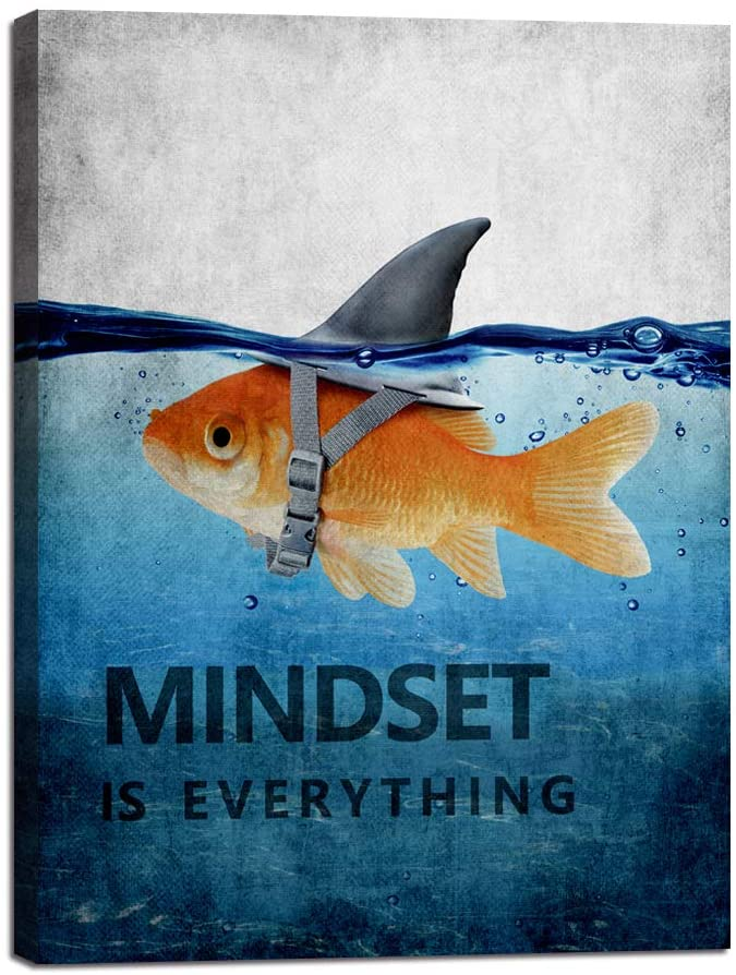 """Mindset is Everything Motivational Canvas Wall Art Inspirational Entrepreneur Quotes Poster Print Artwork Painting Picture for Living room Bedroom Office Home Decor Framed Ready to Hang (30""""Wx40""""H)"""