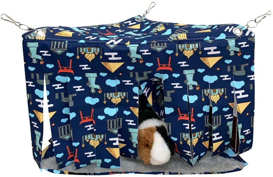 FULUE Guinea Pig Fleece Cage Liners Hammock and Bedding, Corner Hideout for Guinea Pigs Cute Ferret Hammock and Sleeping Bed