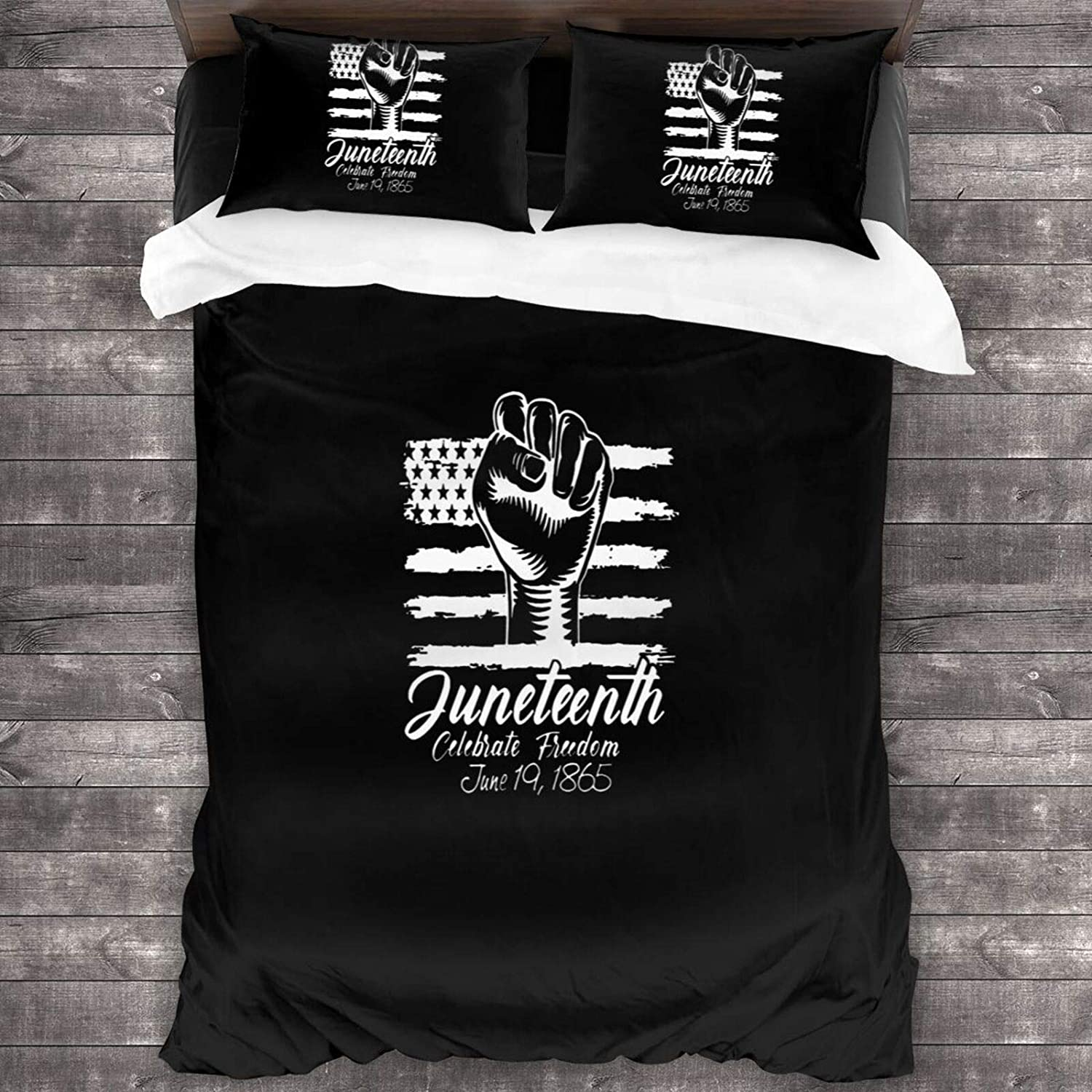 DSFSDF Juneteenth 1865 Africa Map Fist 1 Classics 3 Pieces Bedding Set Duvet Cover for Full Twin Size Bed Ultra Soft Breathable for Bedroom 2 Piece Pillow Cover and Duvet Cover