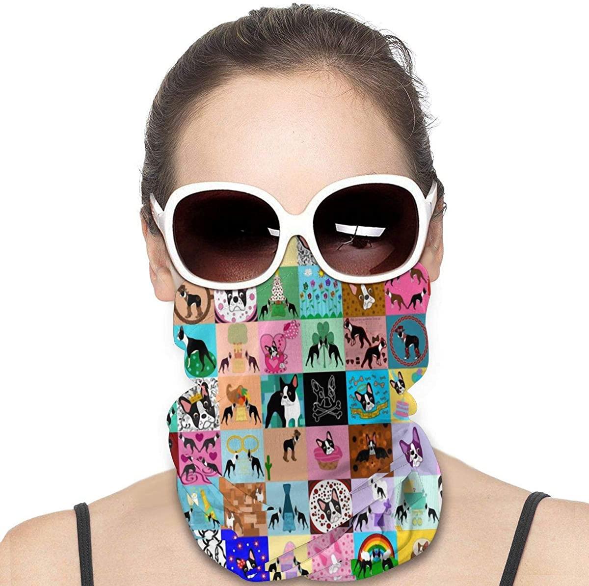 Crazy Faux Boston Terrier Neck Gaiter Summer Cool Breathable Lightweight Sun Uv Protection Face Bandana Half Mask Scarf Headwear Headband Balaclava Black