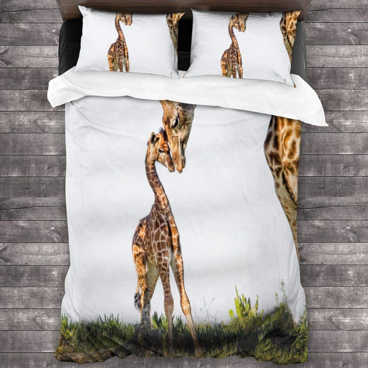 N\ A Mother Giraffe and Her Baby Bedding Set Full/Queen (86x70 inches) Duvet Cover Set Modern Comforter Cover-3 Pieces-Ultra Soft Microfiber