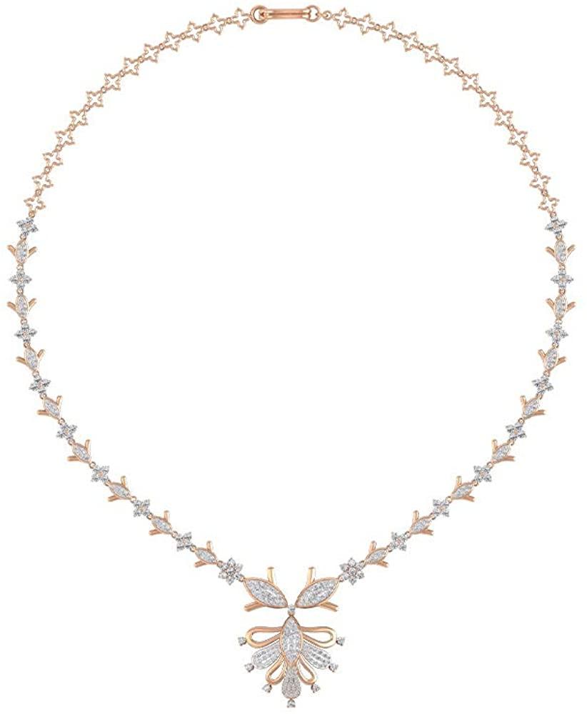 4.31 CT Certified Moissanite Cluster Flower Drop Necklace, Women Wedding Anniversary Statement Necklace, 14k Gold Filigree Bridesmaid Gemstone Pendant