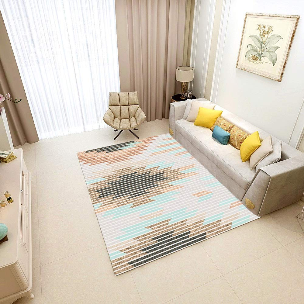 Colorful Striped Irregular Graphic Combination for Living Room Bedroom, Nordic Geometric Bedroom Mattress, Simple Living Room 3D Printed Carpet, Polyester, Two Sizes Clean and Stylish