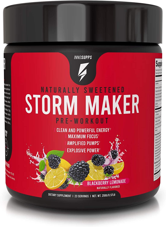 Inno Supps Storm Maker Pre Workout - Long Lasting Energy, Organic Caffeine & Yerba Mate, L-Citruline, Ashwagandha, Spectra, No Artificial Sweeteners, Vegan, Keto Friendly (BlackBerry Lemonade)