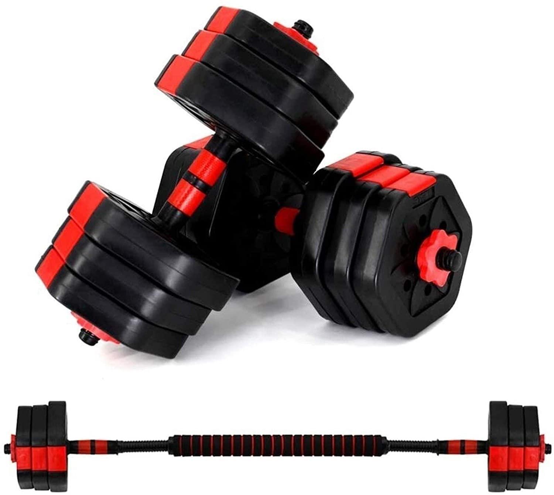 WDWL Dumbbell Barbell Set Adjustable 2 in 1 10 Kg (5kg2) Sports Fitness Dumbbell Set Home Fitness Equipment Detachable Dumbbell Barbell Set