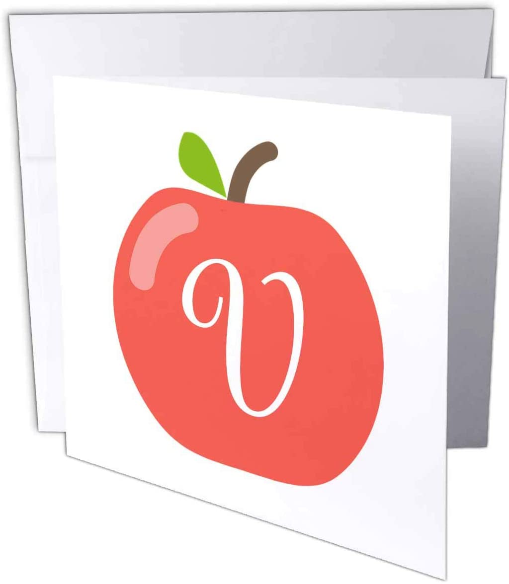 3dRose Stamp City - Typography - Monogram Letter V Inside a red Apple on a White Background. - 1 Greeting Card with Envelope (gc_324786_5)