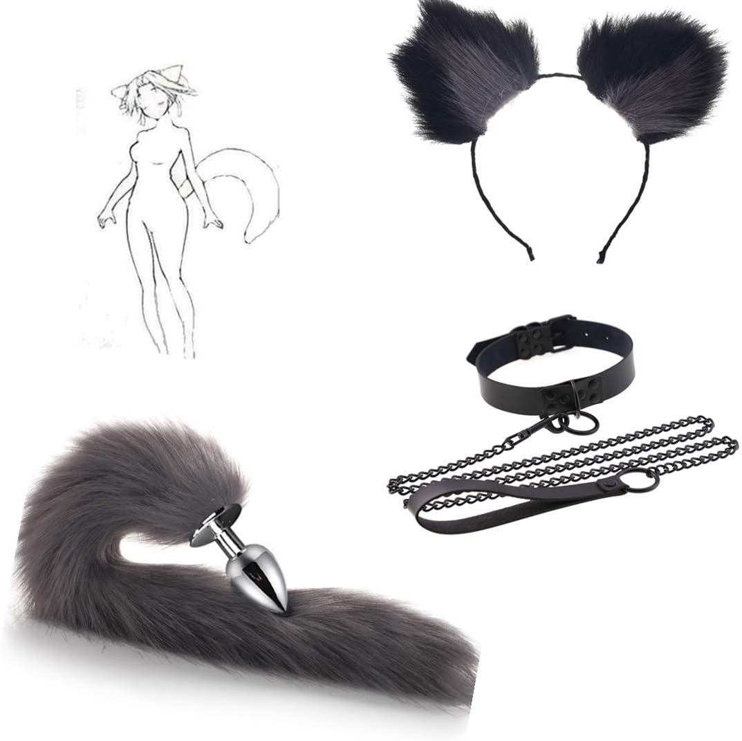 Fox Tail Plùg Bùtt Sex Ear Suit Traction Black Choker Collar Drag Chain 7 Colors Fox Cosplay Stainless Steel Headband Hair Clips Plush Anime Maid Toy As a Gift for Partner (Large, Greg)