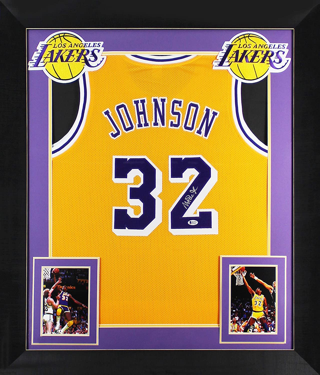 Lakers Magic Johnson Authentic Signed & Framed Yellow Jersey BAS Witnessed