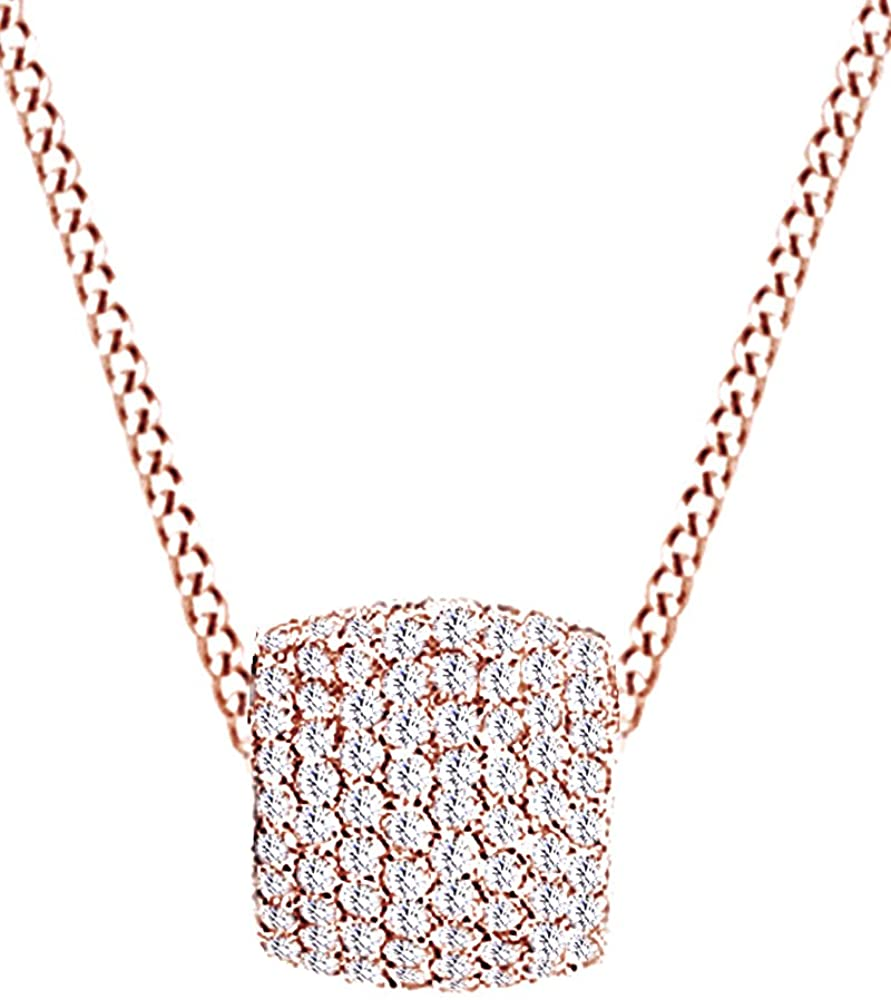 Round Cut White Natural Diamond Pendant Necklace (2.26 Cttw) In 10K Solid Gold
