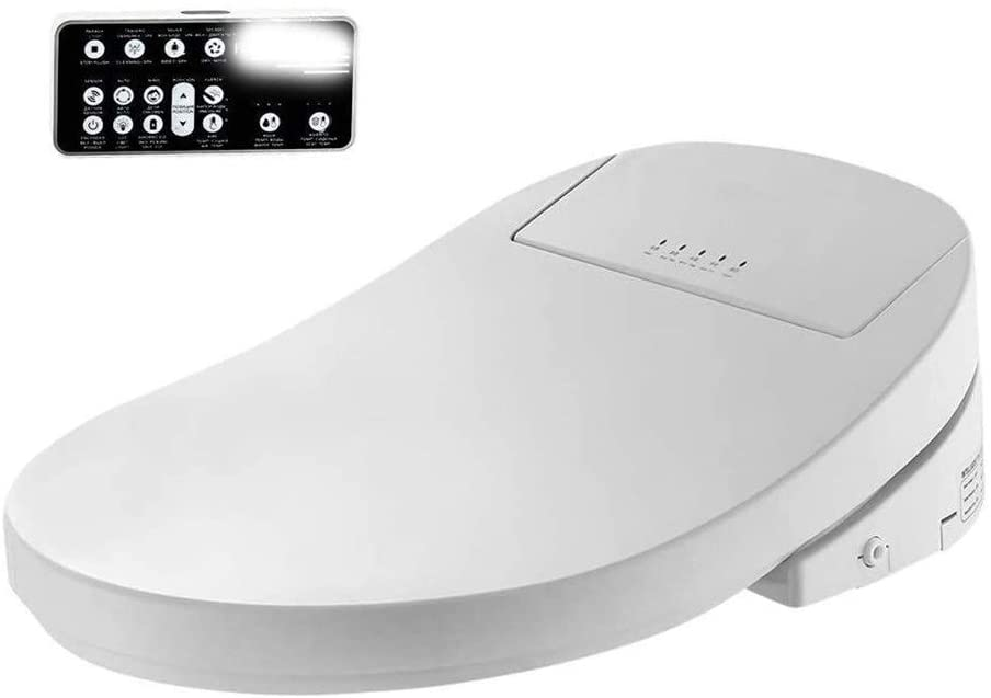 Bidelet Intelligent,Smart Bidet Heated Toilet Seat Led Light Wc Lid Electric Cover Easy to Install 1015 (Color : Elongated510380150mm)