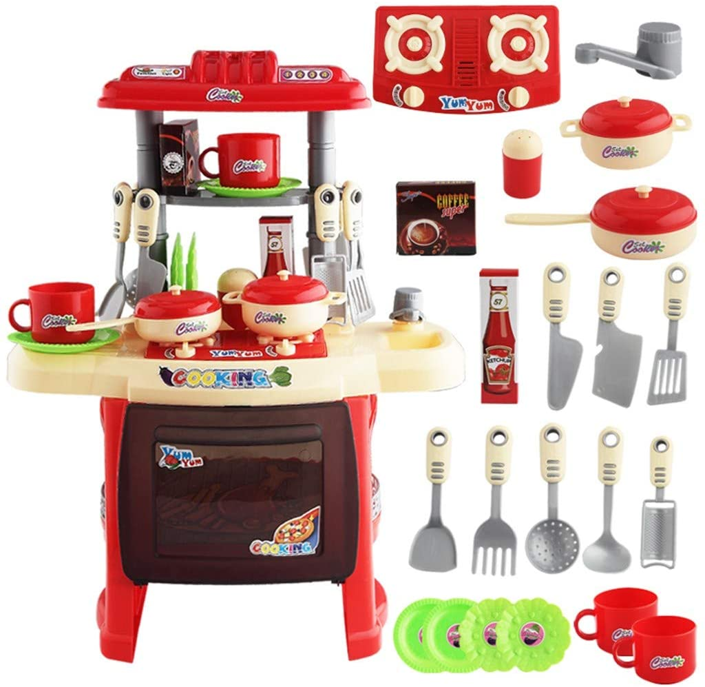 【Ship from USA】 Kids Play Kitchen丨Kids Play Kitchen with Toy Accessories Set, Best Chefs Kitchen Playset, Mini Kids Kitchen Pretend Play丨Cooking Set Cabinet Stove 3+ Year Old Girls Boys (red-A)