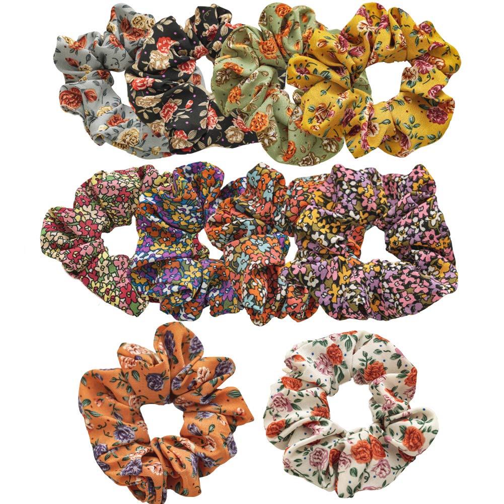 Pinksee 10 Pcs Flower Hair Scrunchies Women Elastic Hair Bands Scrunchy Chiffon Hair Ties Ropes Ponytail Holder