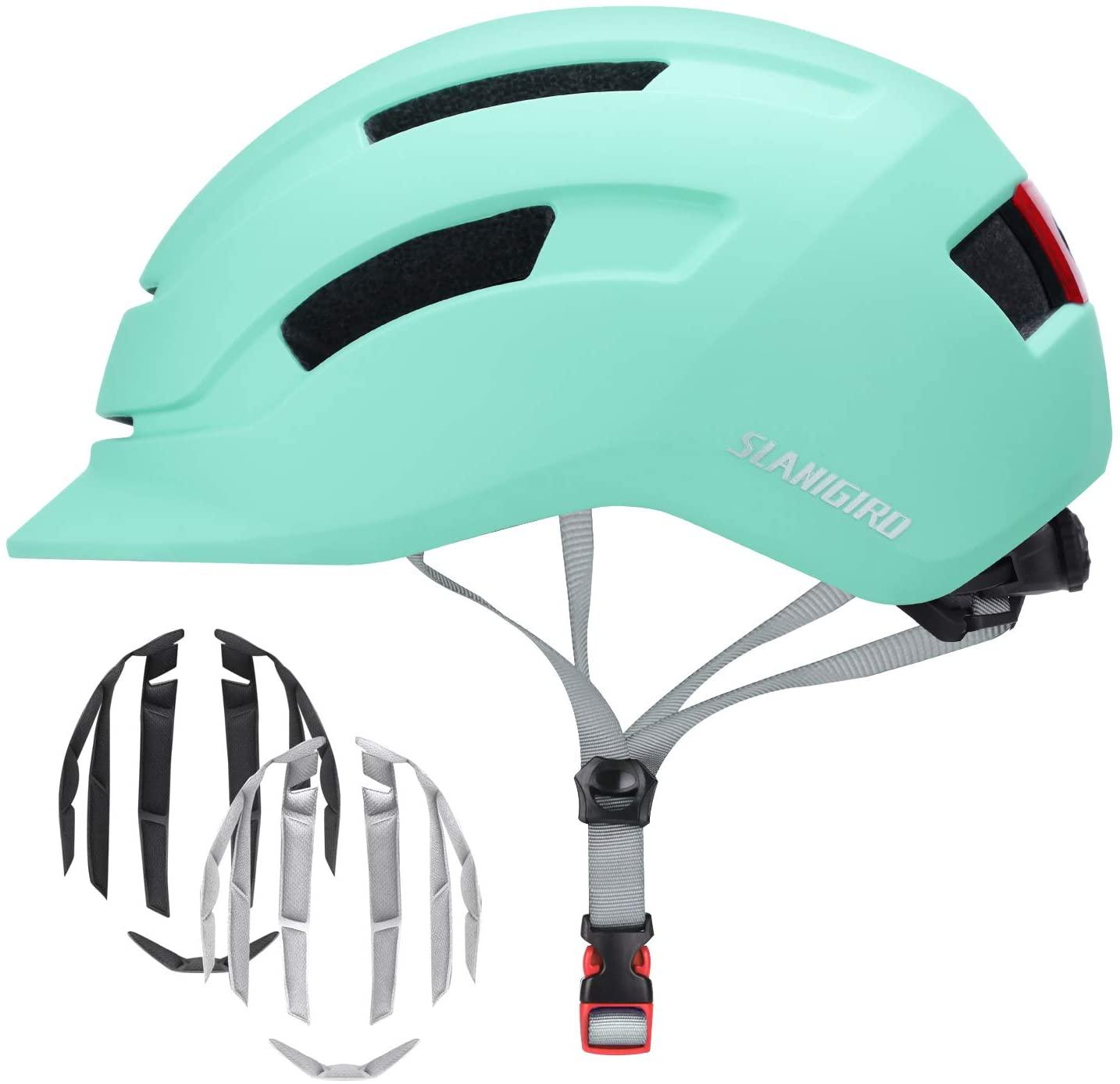 SLANIGIRO Adult-Youth Urban Bike Helmet - Adjustable Fit System & Integrated Taillight for Men Women