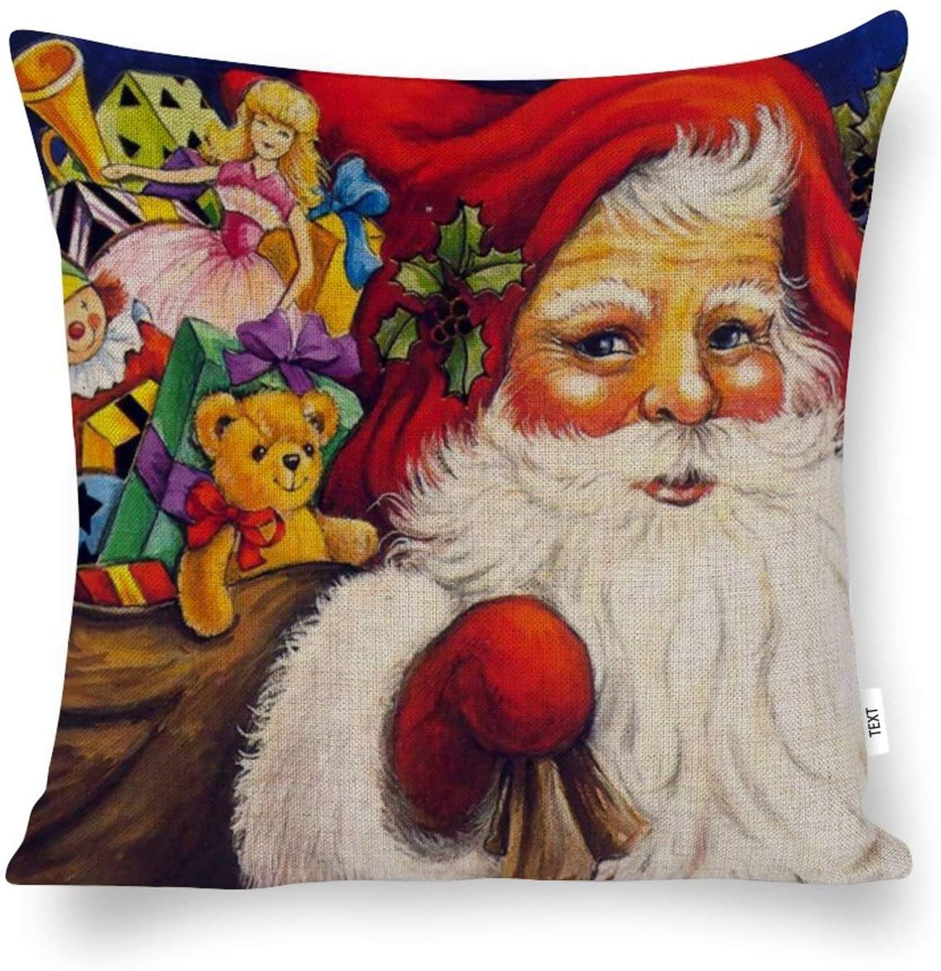 AILOVYO Decorative Cotton and Hemp Throw Pillow Covers Family and Santa for Room Bedroom Room Sofa Chair Car